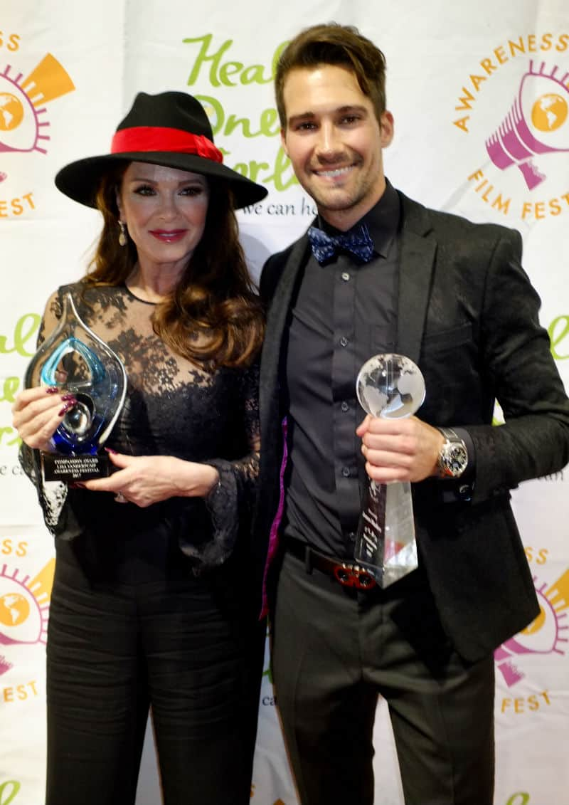 Compassion Award Winner, Lisa Vanderpump and Humanitarian Award Winner, James Maslow at the 8th Annual Awareness Film Festival. Photo credit: Billy Baque/Awareness Film Festival