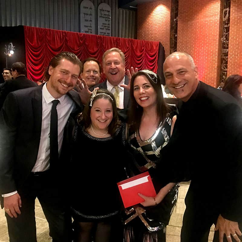 Rabbi Adam Lutz, Eric Reiter, Barry Brucker, Cantor Lizzie Weiss, Rabbi Sarah Bassin, Rabbi Jonathan Aaron at Temple Emanuel's Beverly Hills Ball 2017