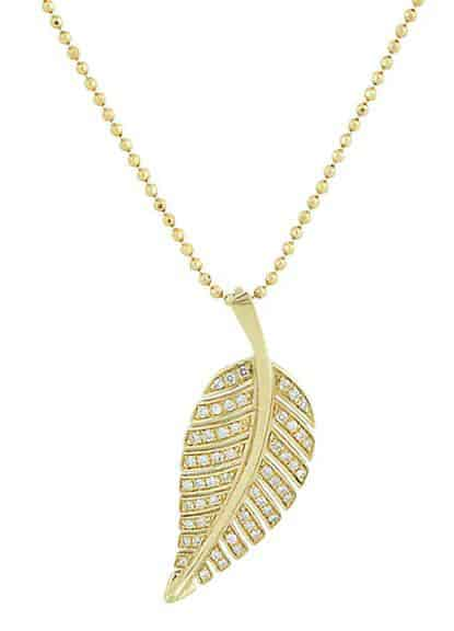 Gold Leaf Pendant Necklace. BUY NOW!!! #beverlyhills #watches #shop #jewelry #necklace #bevhillsmag #bevelryhillsmagazine