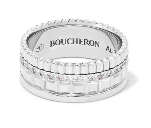 Boucheron 18-Karat White Gold Diamond Ring. BUY NOW!!! #beverlyhills #shop #jewelry #jewelery #rings #earrings #bevhillsmag #bevelryhillsmagazine