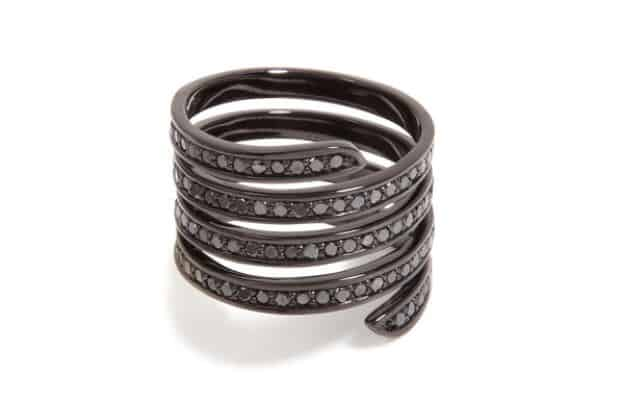 Black Rhodium Pavé Coil-Ring. BUY NOW!!! #beverlyhills #shop #jewelry #jewelery #rings #earrings #bevhillsmag #bevelryhillsmagazine