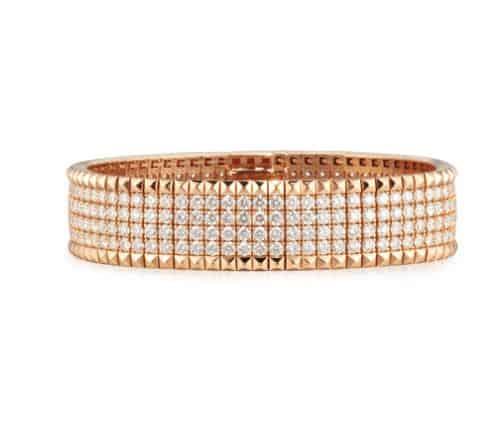 Roberto Coin Rose Gold Diamond Bracelet. BUY NOW!!!  #BevHillsMag #fashion #shopping #shop #style #beverlyhillsmagazine #beverlyhills #jewelry #bracelets #diamonds #gold
