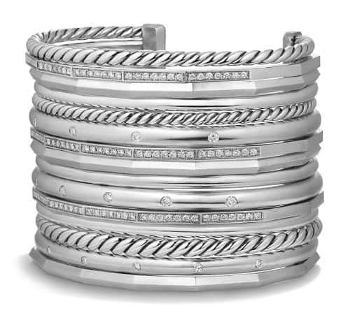 David Yurman #Silver Diamond Cuff. BUY NOW!!! #BevHillsMag #fashion #shopping #shop #style #beverlyhillsmagazine #beverlyhills #jewelry #bracelets #diamonds
