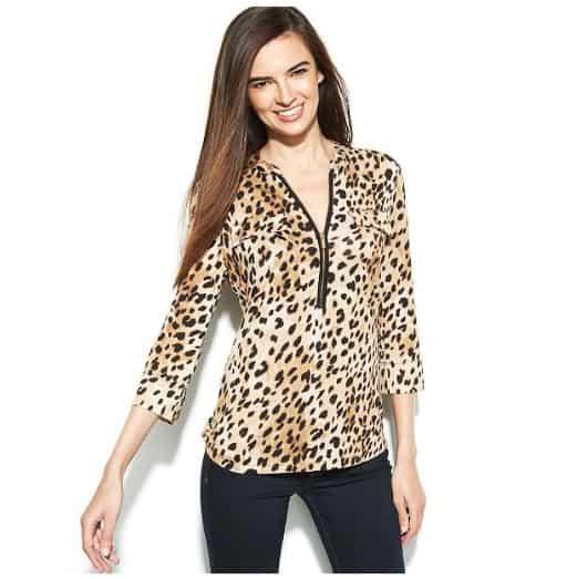 Cheetah Print Blouse by Calvin Klein. BUY NOW!!! #beverlyhillsmagazine #beverlyhills #fashion #style #shop #shopping