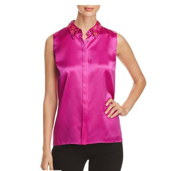 Elie Tahari Silk Blouse. BUY NOW!!! #beverlyhillsmagazine #beverlyhills #fashion #style #shop #shopping  #pink