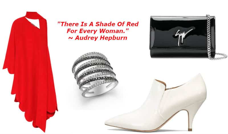 Radiant Red Style. BUY NOW!!! #shop #fashion #style #shop #shopping #clothing #beverlyhills #dress #shoes #boots #beverlyhillsmagazine #bevhillsmag #handbags #purses #bags #jewelry #jewellery #rings #diamonds #diamond #ring
