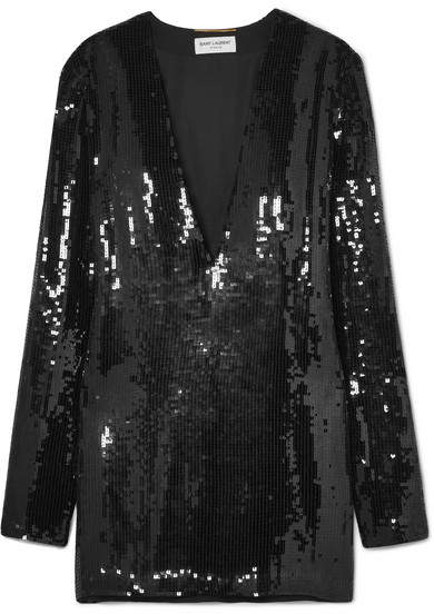 Saint Laurent Sequin Dress. BUY NOW!!! #BevHillsMag #beverlyhills #shopping #fashion #shop #style