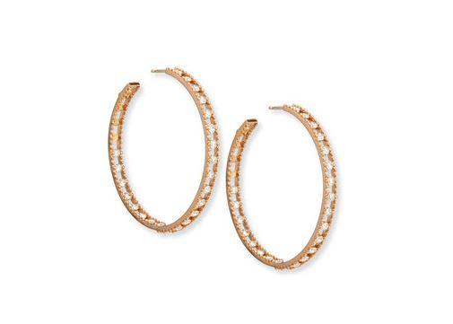 Rose Gold Diamond Hoop Earrings. BUY NOW!!! #beverlyhills #beverlyhillsmagazine #bevhillsmag #shop #shopping #jewelry