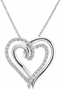 """Two Hearts Forever"" Silver Diamond Necklace. BUY NOW!!!"