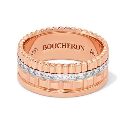 Boucheron - Quatre Radiant Rose Gold Diamond Ring. BUY NOW!!! #beverlyhills #watches #shop #jewelry #necklace #rings #earrings #bevhillsmag #bevelryhillsmagazine