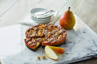 #Royal Recipes by Carolyn Robb: Chocolate, Pear & Pistachio Slice #recipe #crumble #cake #recipes #food #cook #cooking #beverlyhills #beverlyhillsmagazine #carolynrobb #rockyroad #desserts #celebritychef #chef #chocolate #cake #pears #pistachio #baker #dessert
