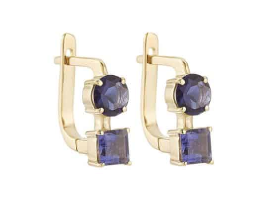 18K Yellow #Gold Earrings with Lolites BUY NOW!!! #jewelry #shop #jewels #earrings #fashion #style #beverlyhills #beverlyhillsmagazine #bevhillsmag